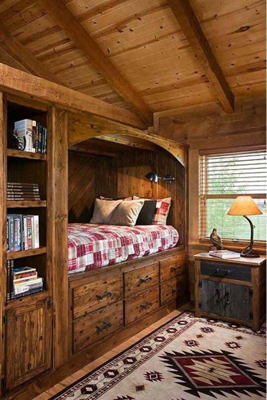 Cabin Bedroom with Rustic Built-in-Bed
