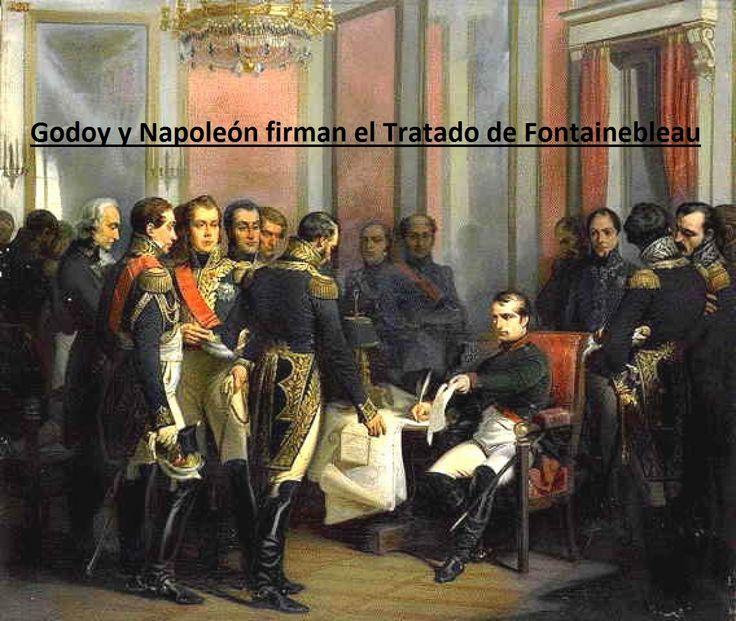 Grabado histórico que representa el Tratado de Fontainebleau (27 octubre de 1807), que fue firmado por Napoleón Bonaparte y Godoy en Fontainebleau (Francia). En él, se permitía la entrada de tropas francesas para la conquista y posterior repartición de Portugal entre Francia y España, ya que Napoleón no podía conquistar Gran Bretaña. Napoleón quería engañar a Godoy para conquistar también España. Esto era una cláusula secreta, cuando Carlos IV se entera, se produce la Conspiración del…
