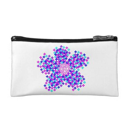 DIGITAL FLOWER EXPLOSION SMALL COSMETIC BAG - flowers floral flower design unique style