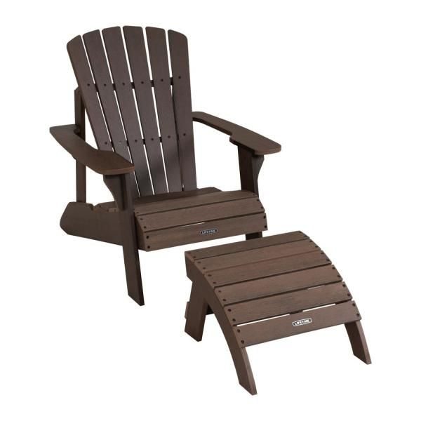 Lifetime Composite Rustic Brown Adirondack Chair And Ottoman Set