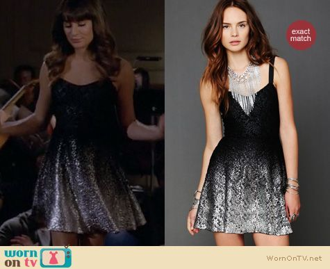 Rachel's black and silver dress on Glee.  Outfit Details: http://wornontv.net/11555/ #Glee