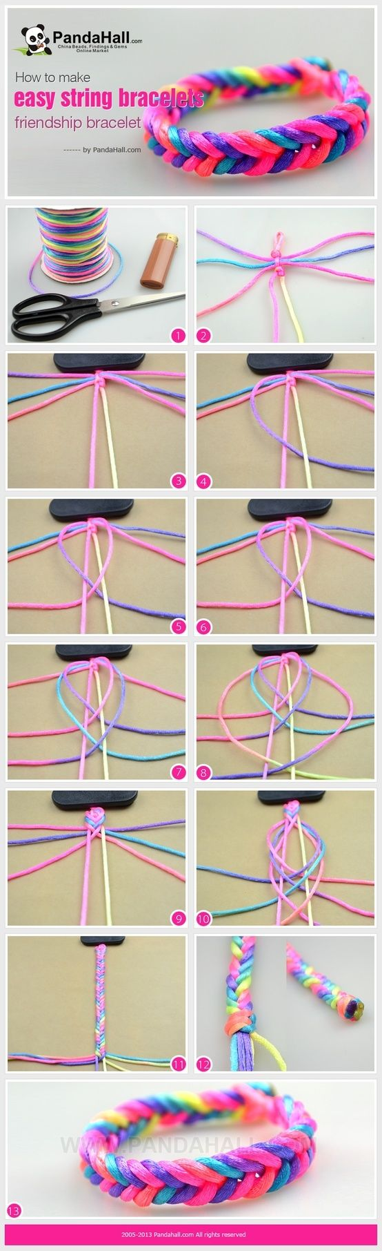 Easy herringbone style friendship bracelet tutorial. (Pinning because I have this thread and it's lovely!)