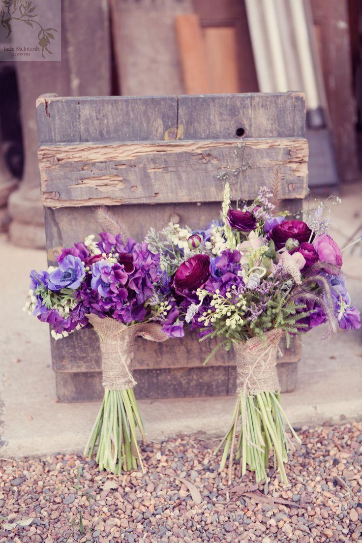 posies of anenomes, sweet pea, berzelia, helebores, lavender, penny sedum, ranunculas www.jademcintoshflowers.com.au www.littleblackbowphotography.com.au