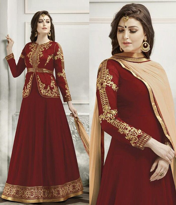 Red Georgette Abaya Style Suit with Dupatta