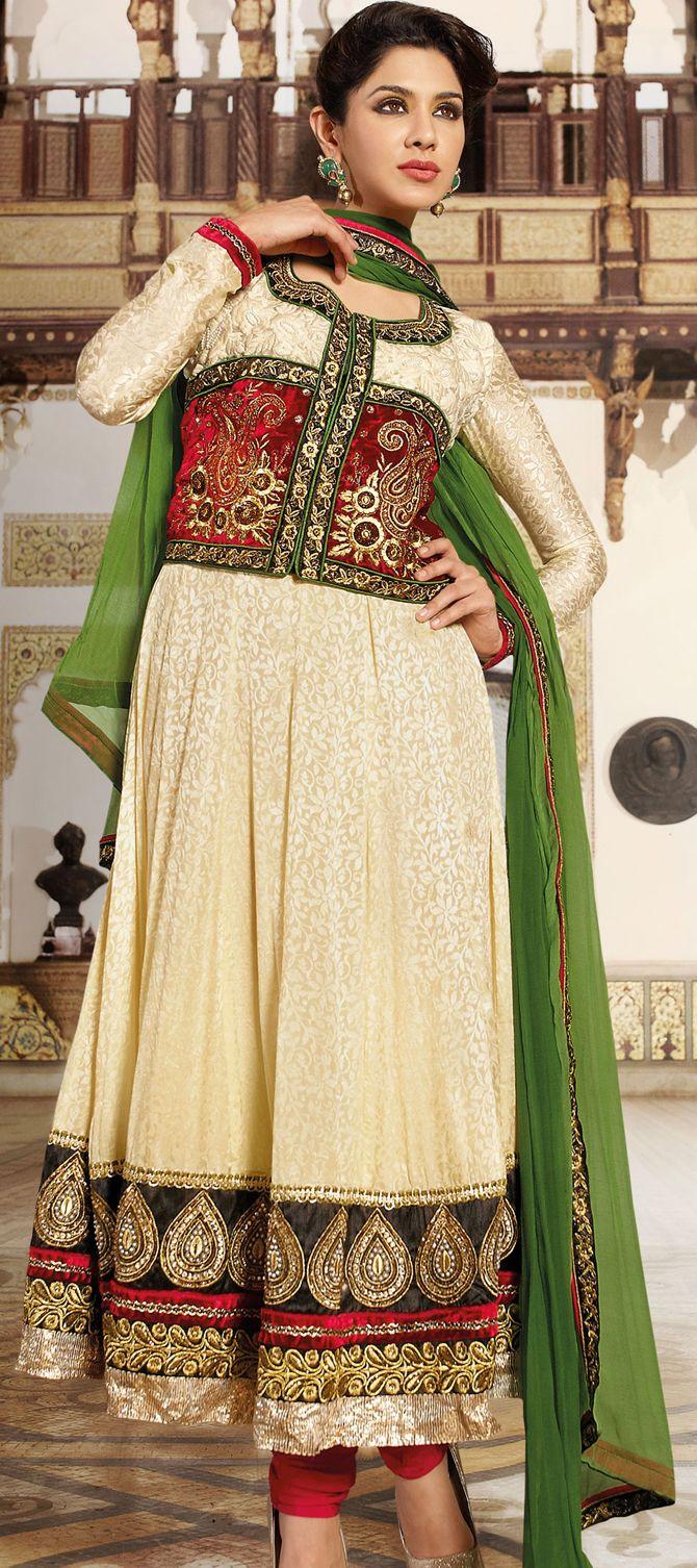 Cream Jacquard #Pakistani #Salwar #Kameez Design | @ $139.01