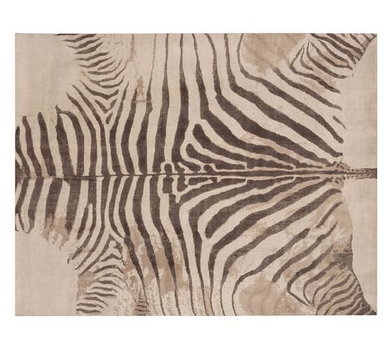 Zebra Printed Rug - Neutral | Pottery Barn. Dining room rug