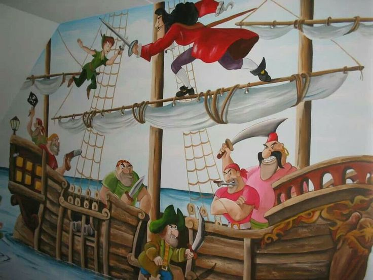 Kinderkamer piraten! Schitterende muurschildering Peter pan met kapitein haak