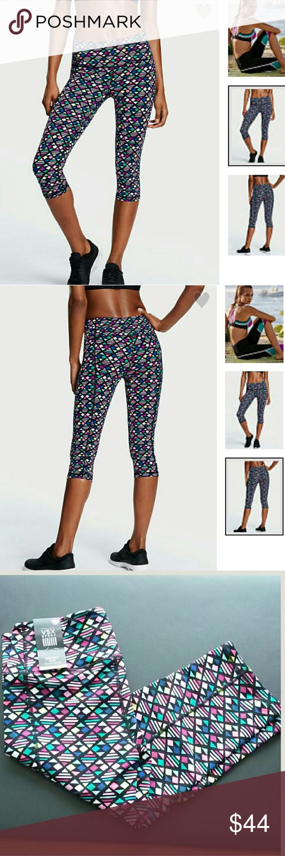 Victoria's Secret Knockout Crop Pants Brand new crop pants by Victoria's Secret Sport. Geo pixel color (color is most accurate in first 2 pictures). Medium rise and form fitting. Size medium. These crops are great quality! Victoria's Secret Pants Ankle & Cropped