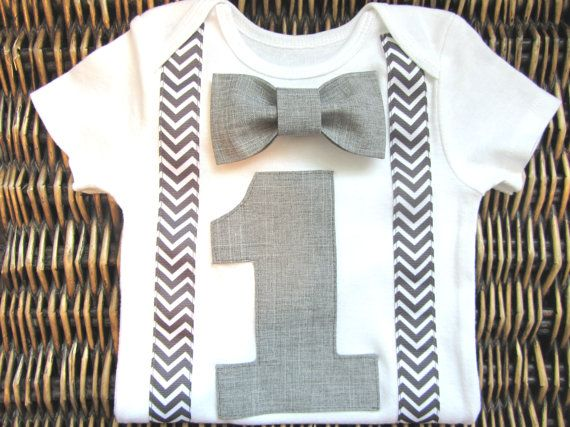 Boys First Birthday Outfit - Baby Boy Clothes - Grey Chevron  Birthday Number Onesie - 1st Birthday - Birthday Bow Tie - Carnival Birthday