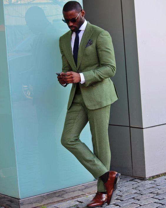 2017 Latest Coat Pant Designs Green Men Suit Prom Tuxedo