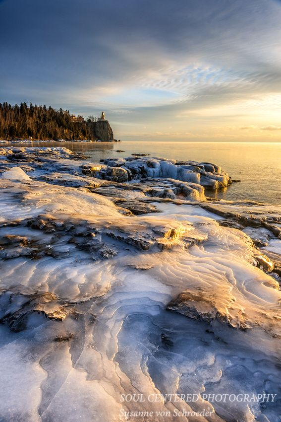 Sunrise mood 2, along the north shore of Lake Superior on a cold winter day. Split Rock lighthouse in the distance, Minnesota #MSPdestination
