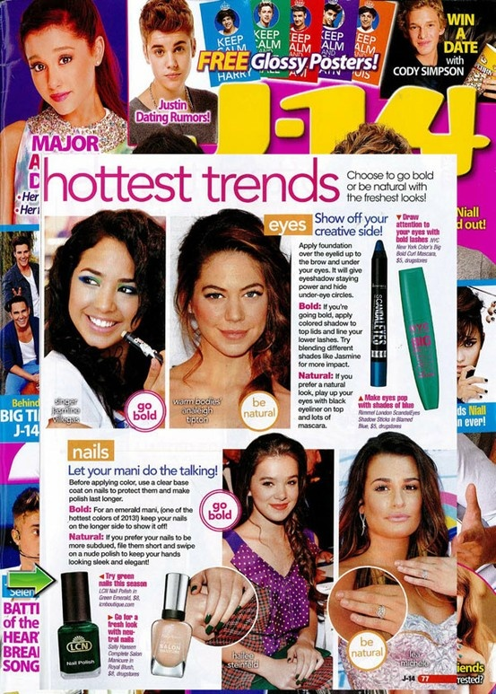 """LCN's Green Emerald Nail Polish is featured in an editorial titled """"Bold Vs Natural: Spring's Hottest Trends"""" within the April issue of J-14 Magazine."""