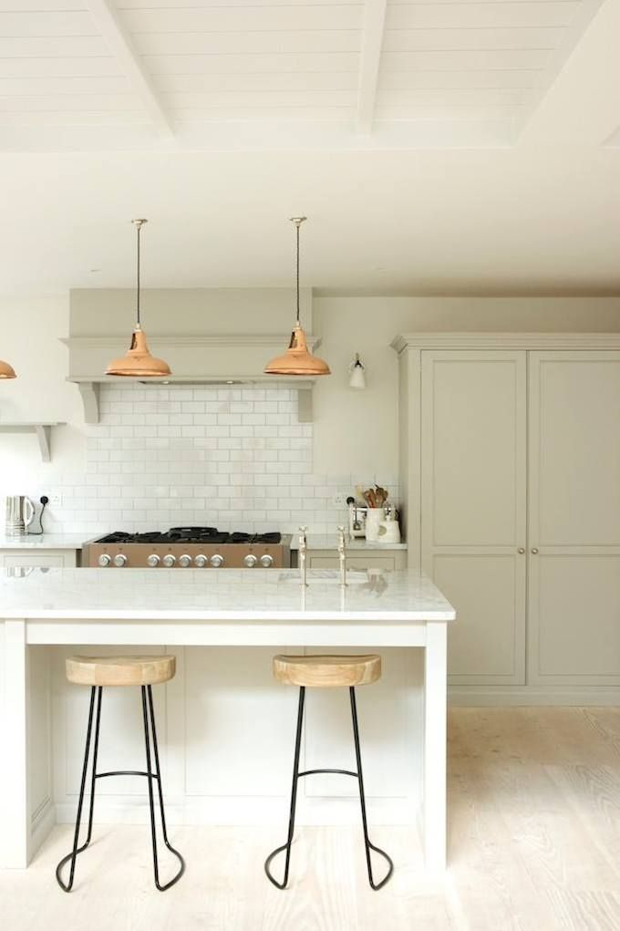 marble island pale grey kitchen | devol kitchens
