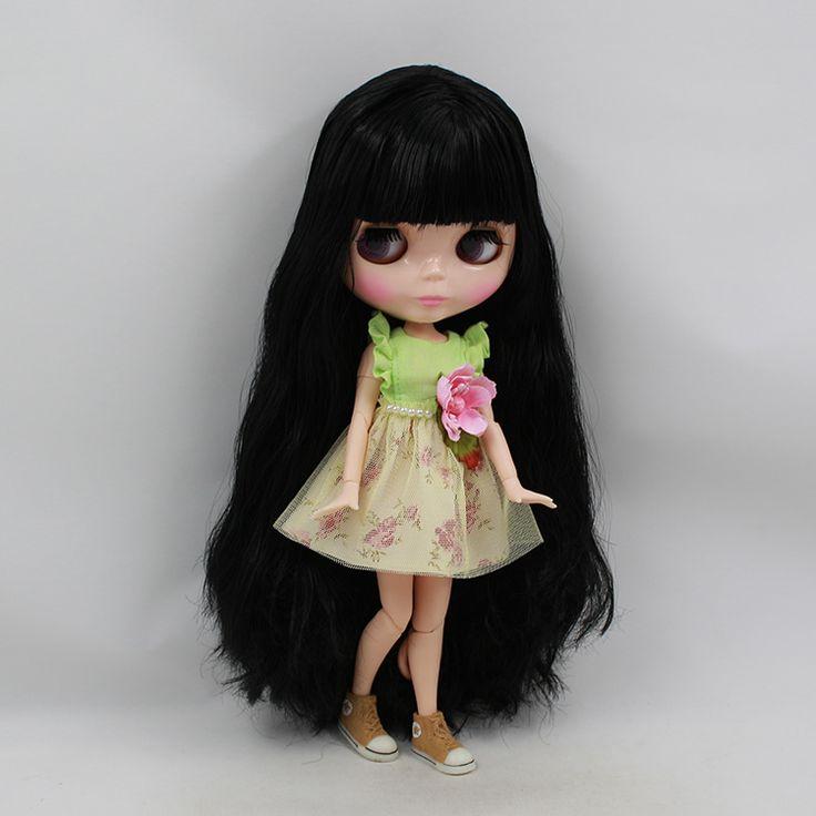 Бесплатная доставка Обнаженная Блайт кукла совместное тела куклы темно-каштановые волосы с челкой ребенка куклы для девочек