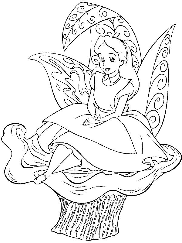 Alice Enjoy In Wonderland Coloring Page Disney
