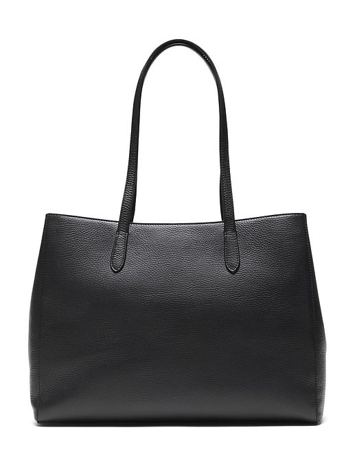 d7715c6f97b6 Banana Republic Womens Italian Leather East-West Tote Black Size One ...