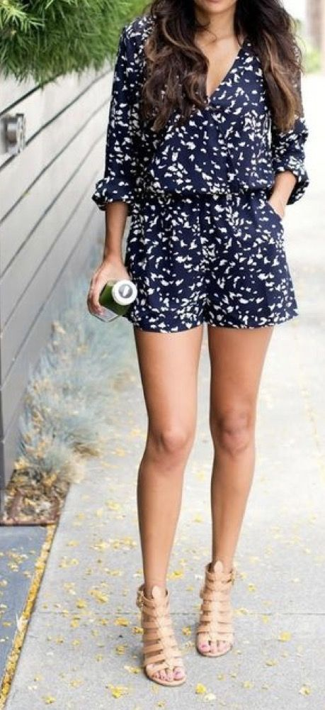 Stitch Fix 2017 Spring and Summer fashion. Long sleeved navy shorts romper 2ith nude strappy heels. #stitchfix #sponsored