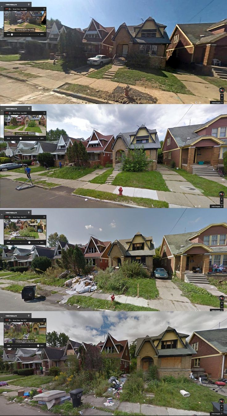 Hickory Street, Detroit (2008, 2009, 2011, 2013) Intense Before-and-After Google Street View Pictures Perfectly Capture Detroit's Decline - PolicyMic