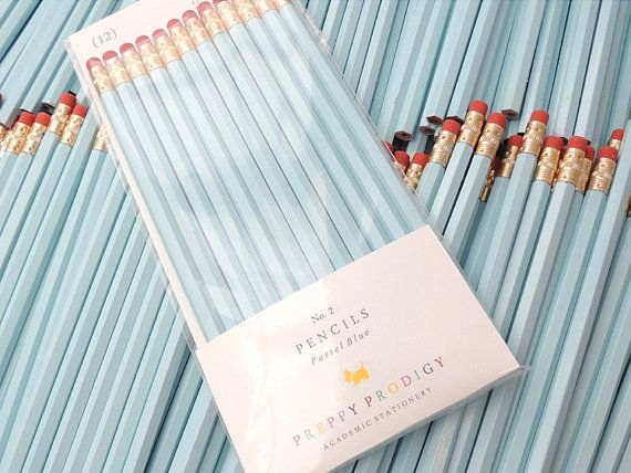 Pastel Blue Pencils, set of 12, Preppy School Supplies $7.50