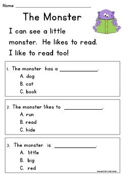 Kindergarten Reading Comprehension Passages & Questions: Guided ...