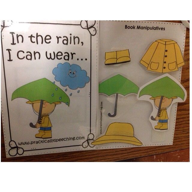 Practically Speeching: Interactive Book - Getting Dressed for Rain! Pinned by SOS Inc. Resources. Follow all our boards at pinterest.com/sostherapy/ for therapy resources.