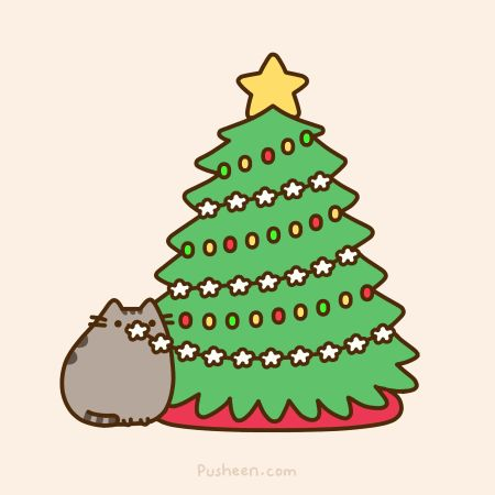 Pusheen cat eating the popcorn string from the Christmas tree. Merry Christmas everyone!-12/25/14
