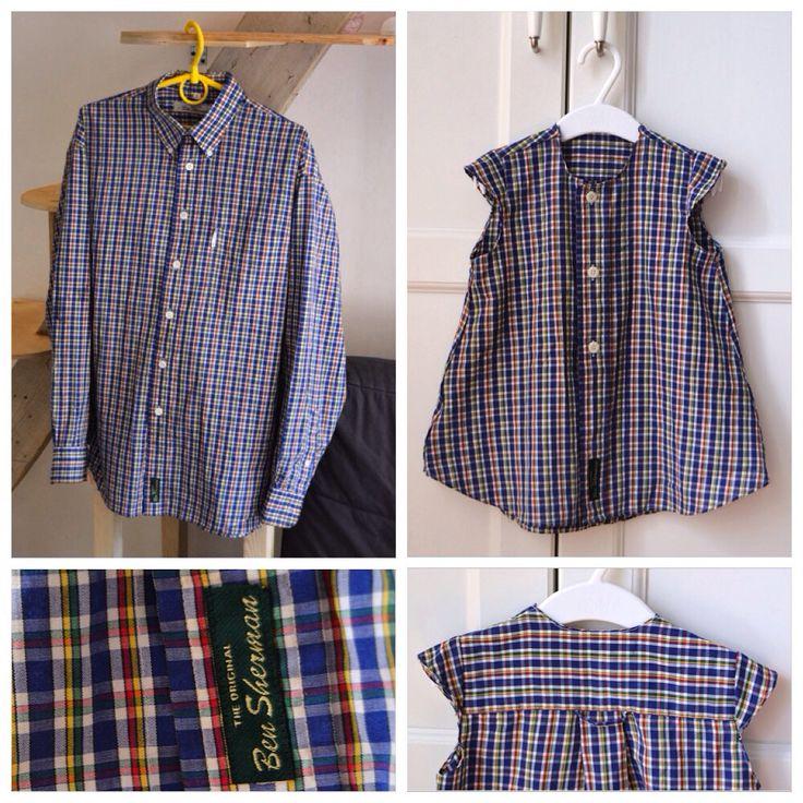 Детское платье из мужской рубашки. Когда не хочется выкидывать английскую рубашку ben shrman, тогда хочется сшить платьишко!) #платье #babydress #dress