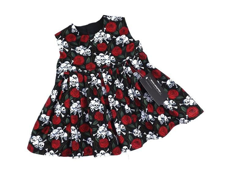 You Pick Size * Skull /& Red Roses Goth Punk Baby Infant Toddler Girls Dress