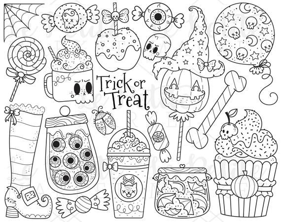 Halloween Candy Clipart Images Trick Or Treat Clip Art Etsy Candy Coloring Pages Candy Clipart Clip Art