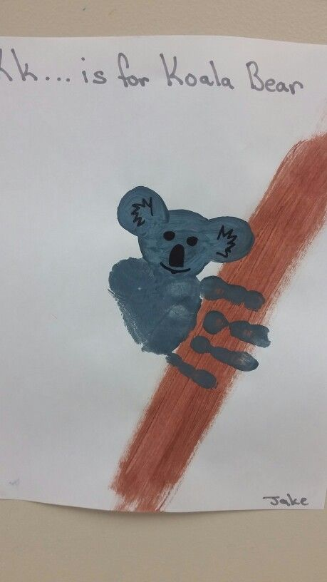 > K is for Koala Bear > Koala Bear Handprint  > Preschool art letter k