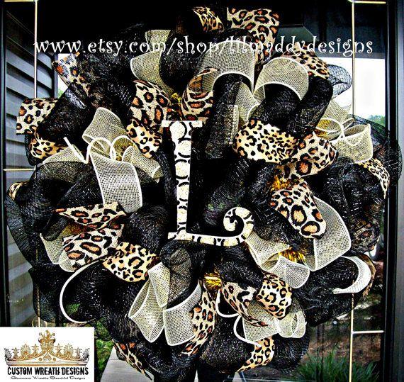 Black and Leopard Burlap Monogram Mesh Wreath by lilmaddydesigns, $95.00