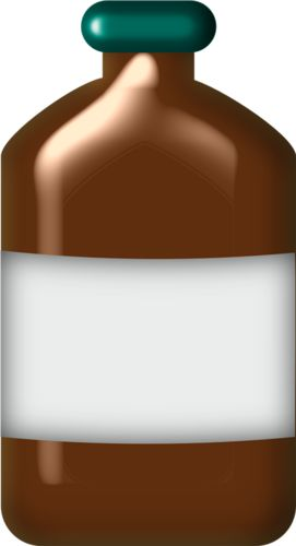 La botella de jarabe para la tos