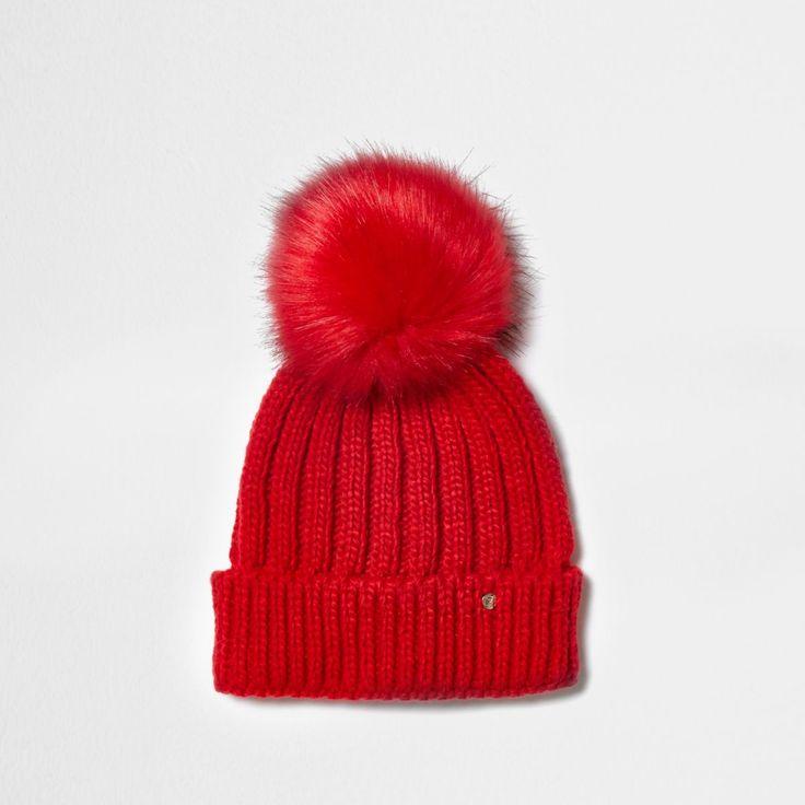 Red rib knit pom pom beanie hat - river island