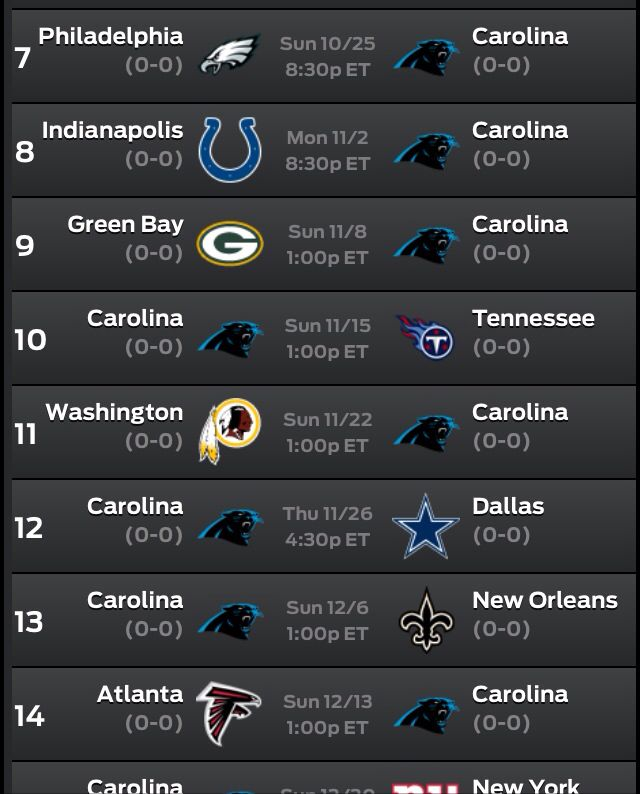 Panther 2015 Schedule includes a MNF game against the COLTS and our first in history Thanksgiving Day game against the COWGIRLS.