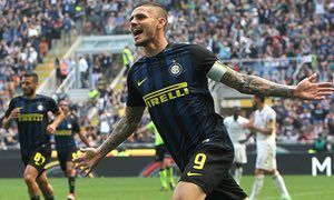 April 15th. 2017: Mauro Icardi celebrates after scoring the second goal for Inter against AC Milan