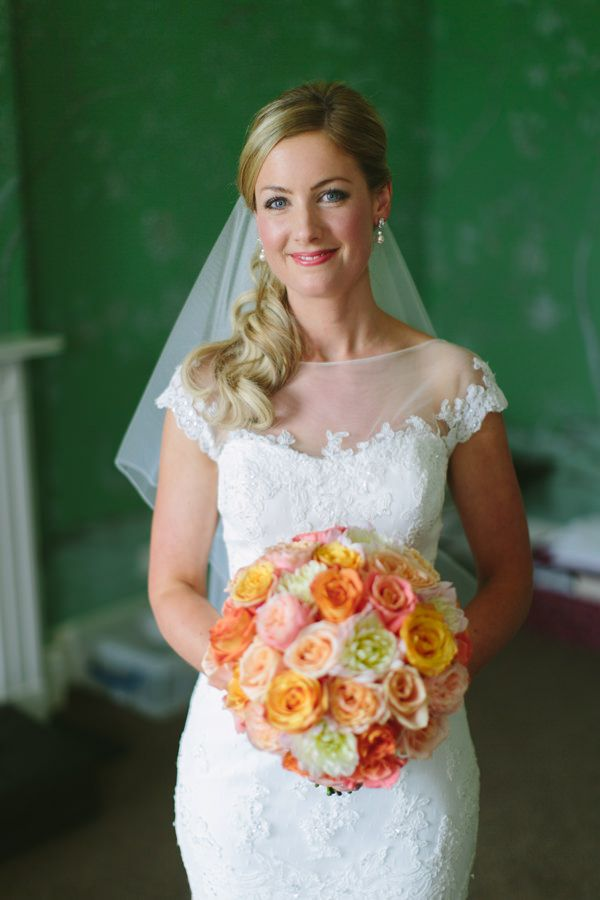 Photo by Adrian Wood See more here http://www.love4wed.com/romantic-intimate-wedding-stubton-hall/ #coralweddingflowers #peachweddingcolors #stubtonhallweddings