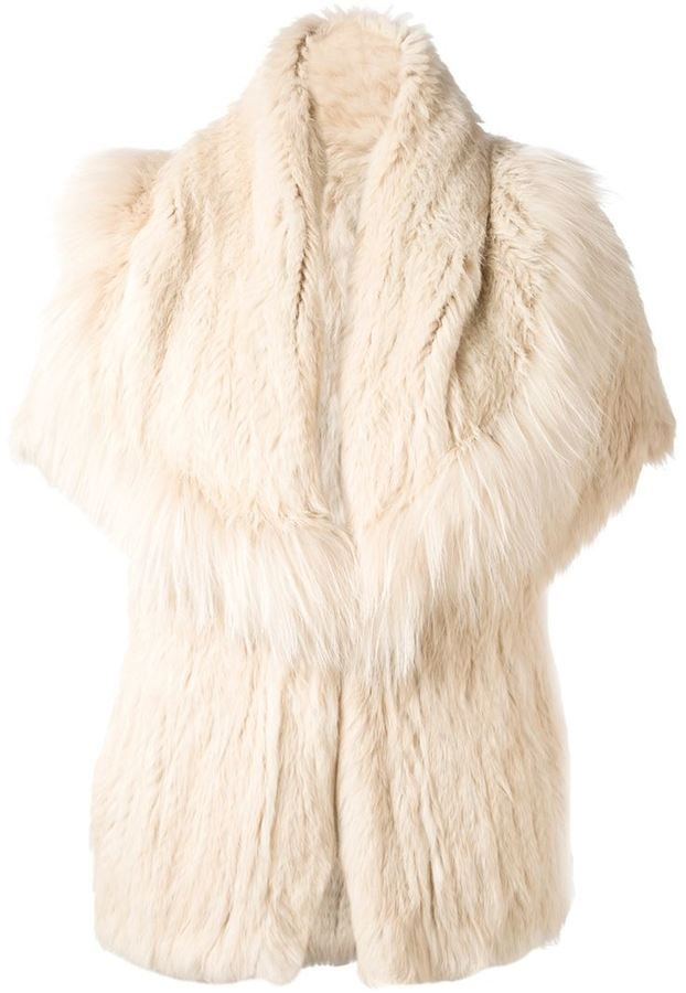 $2,785, Beige Fur Jacket: Yves Salomon Meteo By Rabbit Fur Jacket. Sold by farfetch.com. Click for more info: https://lookastic.com/women/shop_items/124246/redirect