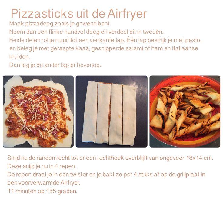 Pizzasticks in de Airfryer. 11 minuten, 155 graden.  AK