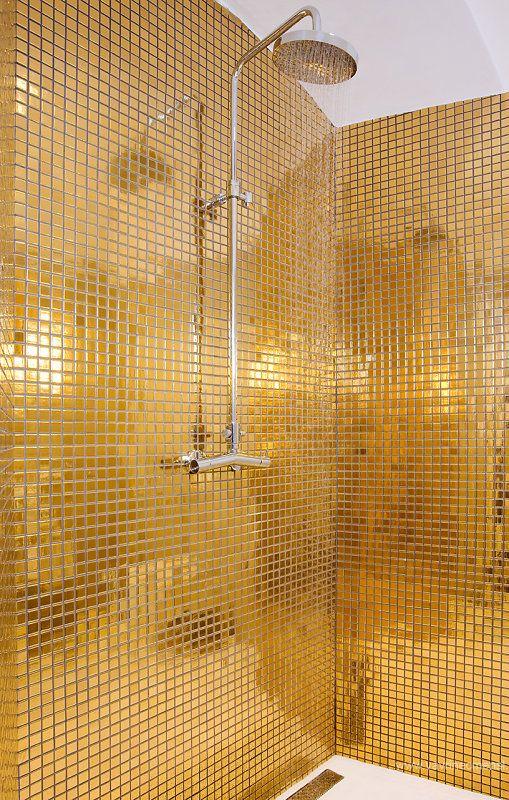 Metallic Gold Mosaic Bath Tiles Disco Dream Homes