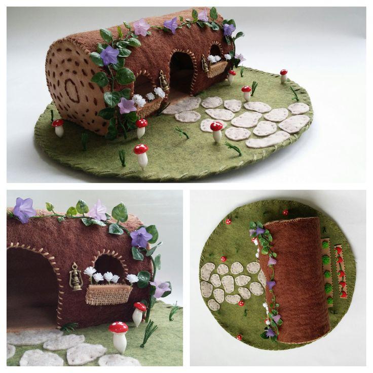 Wool Felt Fairy House Playscape Play Mat Hollow Log Mushroom Vegetable Garden Purple Flowers Dollhouse Pretend Woodland Small Toy Animal by MyBigWorld2015 on Etsy