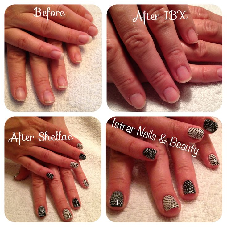 Natural nail treated with IBX and Shellac with nail art stamps
