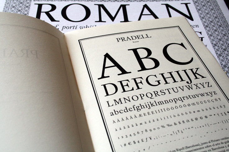 Pradell. Typeface based on Sapanish 18th century type specimens.