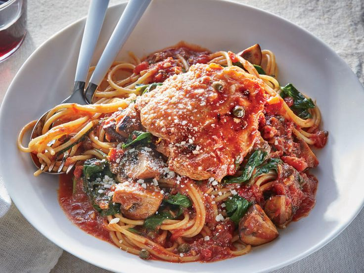 The slow cooker acts as a braiser for this Italian classic. While the chicken becomes succulent and fall-apart tender, briny capers, crushed red pepper, and garlic infuse the crushed tomatoes for a robust sauce you won't find in a jar. True to our one-pan plan, the spaghetti cooks right in the sauce when the chicken comes out, absorbing just enough liquid so it doesn't need to reduce on the stove.