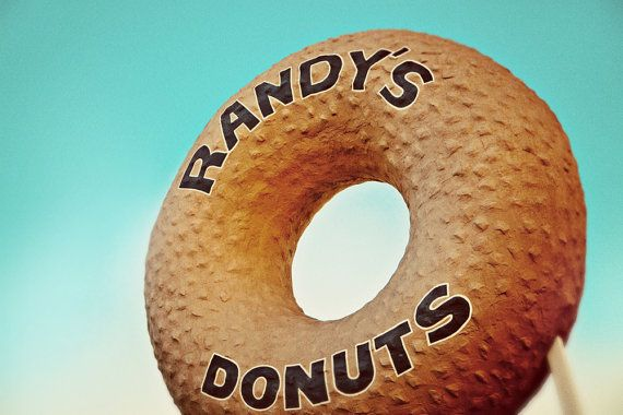 Randy's Donuts Giant Sign  Los Angeles Wall by RetroRoadsidePhoto