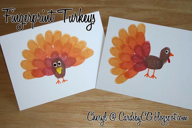 Fingerprint Turkeys: Fingerprint Turkeys, Thanksgiving Crafts, Thanksgiving Ideas, Kids Crafts, Card, Turkey Craft, Thumbprint Turkey