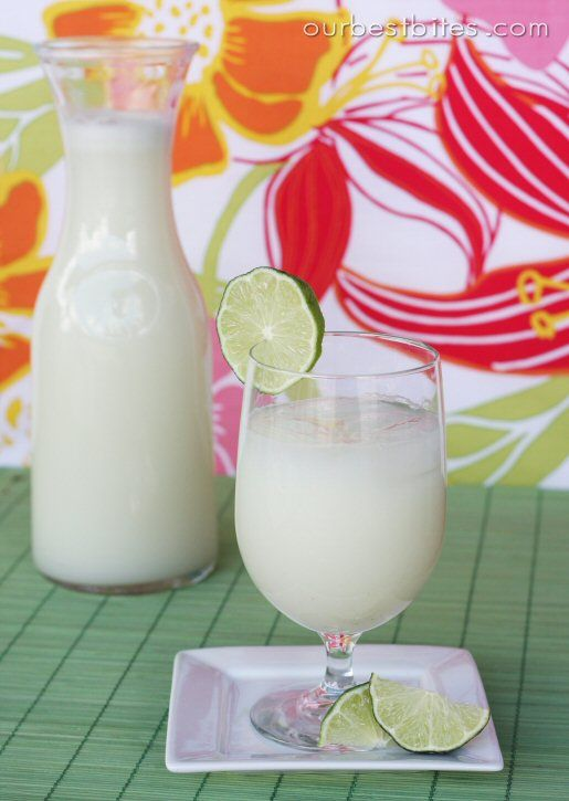 Brazilian Lemonade- This is so good!  There is a way to make ahead of time and it won't go bitter if you just use the zest of four limes and then simmer in the sugar water syrup, strain, cool and then blend or mix with the lime juice, sweetened condensed milk and ice.