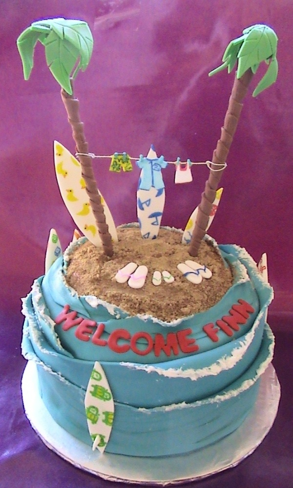 Surfer baby shower by kitty122000 on Cake Central