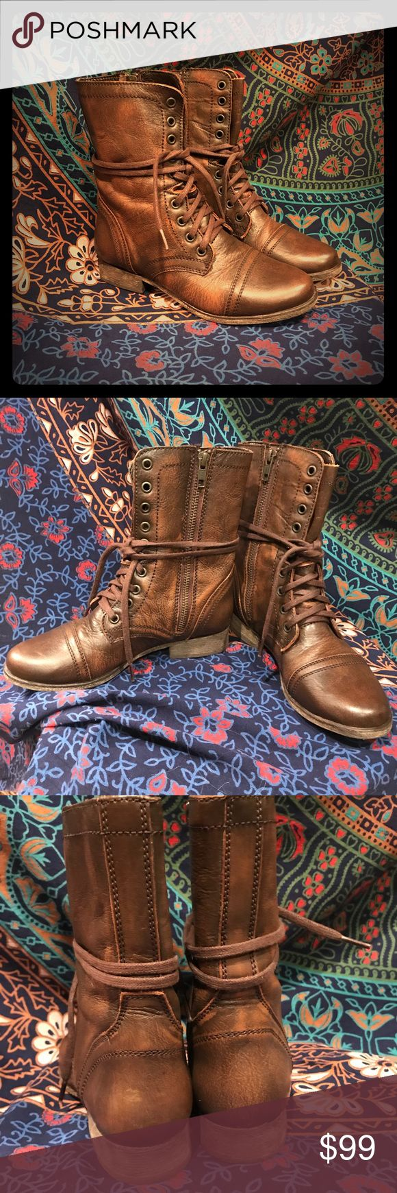 NWT Steve Madden Troopa ORIGINAL Sz 5.5 😍🔥🖤 Back before Ol' Steve added a chunkier heel and goofy rounder toe, there were these...the OG Steve Madden Troopa Combat Boots   Gorgeous Cognac Leather with waxed laces and zipper on inner side. Perfect with shorts, jeans, and even dresses!   This is a BRAND NEW pair of Sz 5.5 in ORIGINAL box, PERFECT CONDITION. Only tried on in store and inside my house.   The 2.0 retails for $79 — these were $139 (should tell you something about the quality…