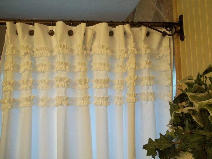 Awesome White Top Ruffle Shower Curtain Mixed Black Parisian Bronze Rod As Well As Unique Bathroom Shower Curtains Also Shower Curtians