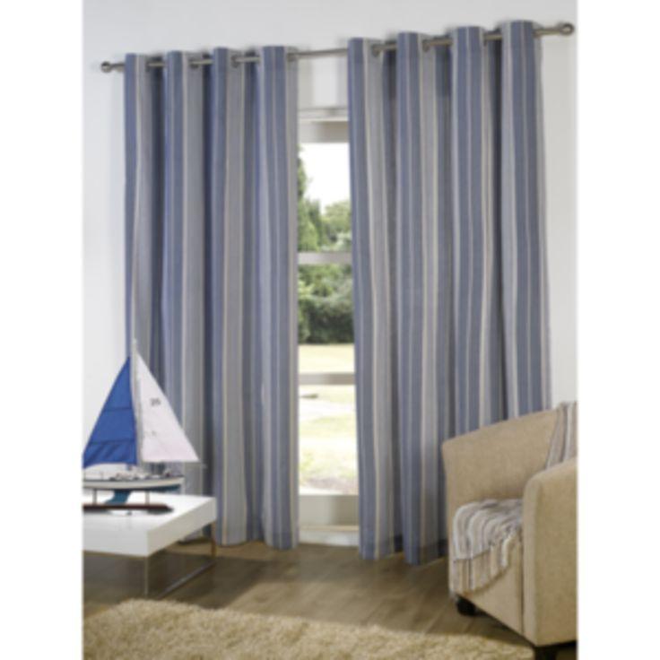 Ticking Stripe Blue Curtains